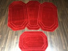ROMANY GYPSY WASHABLES SETS OF 4 TOURER SIZE 60x120CM MATS PLAIN RED NON SLIP